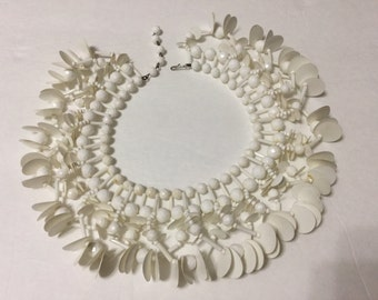 Vintage Chunky Plastic Paillettes and Bead Bib Collar Necklace