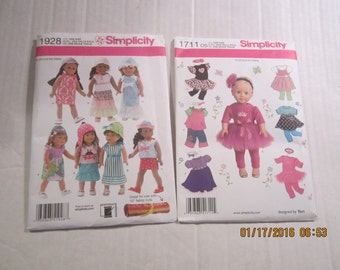 """2 NIP SIMPLICITY American Girl 18"""" doll patterns 1711 and 1928 os Valentine's Day Battat"""