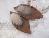 Beautiful Brown Suede Leather Real Mink Feather Style Earrings