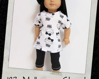 "18"" Doll Clothes, AG doll clothes- Girls in Glasses Tunic and Black Capris  fits 18"" dolls like American Girl, Maplelea"