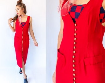 SALE...80's 90's Lipstick Red Jumper Dress Vintage Menswear Button Down Maxi Dress / Deep V + Deep Armhole Vested Dress
