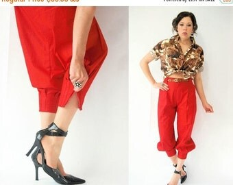 50% OFF SALE... Vintage 80's Lipstick Red Balloon Harem Pants / Sarouel Pants / High Waist Trousers / Pleated Ankle Zip Hem