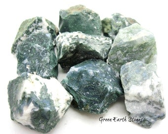 Moss Agate Natural Stone, (one) Rock Hound, Feng Shui, Crystal Healing, Wicca, Magic, Earth, Nature, Crystal Grids, Chakra Stone, Green
