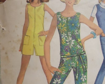 Vintage 1960s Jumpsuit Simplicity Sewing Pattern size 14 bust 34
