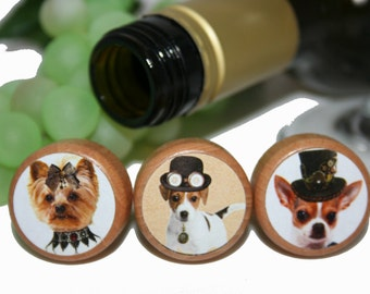Steam Punk Dog Wine Stoppers- Dog Lover Wine Stoppers- Party Favor Stopper- Bulk Quantity Discount