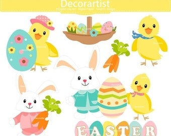 ON SALE Easter bunny clipart, bunny clipart,easter day clipart, easter rabbit clipart, INSTANT Download
