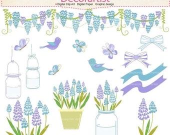ON SALE wedding clip art, Flowers clipart, flowers bluebell clipart, blue flowers clipart, botanical, birds clipart, INSTANT Download