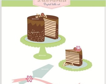 ON SALE clip art, Digital clip art for all use, chocolate cake, instant download