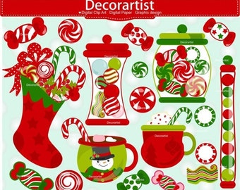 ON SALE Christmas clipart, Christmas candy clipart, Christmas drinks clipart, instant download
