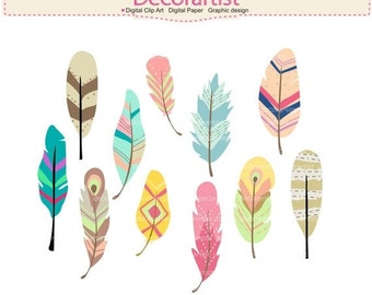 Feathers Clipart _ Feather Clipart. Painted Feathers Clipart, Feather,Tribel Clipart, Tribel Feather Clipart, ON SALE