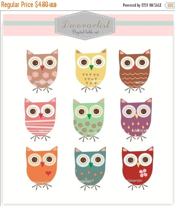 ON SALE owls clip art, 9 super owls, personnel and commercial use, INSTANT Download