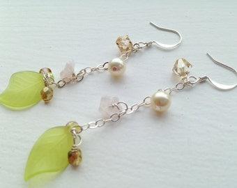 Pink flower green leaf pearl champagne swarovski silver earrings