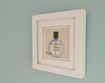 Chance Perfume Bottle Freehand Machine Embroidery Framed Art