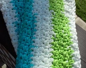 Facial Cloths / Wash Cloths / Cotton dish cloth / Turquoise and Green / Set of 2
