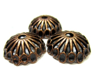 18 large bead caps antique copper jewelry supplies 19mm open work jewelry findings Hp851-V7