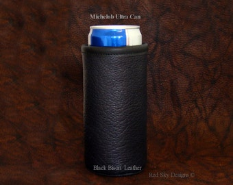 Michelob Ultra Beer Can Insulator - Slim Line Tall Boy - Beverage Holder - Beverage Cooler - Bison Leather Beer Holder - Cowhide Beer Holder