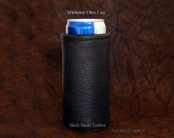 Michelob Ultra Beer Can Coolie Insulator Ultra Slim Line Beer Holder Beverage Huggie Cooler Bison Leather Beer Holder Cowhide Beer Holder