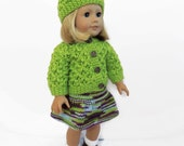 Doll Outfit, 18 Inch Doll Clothes, Knit Doll Sweater, Green Knit Sweater, Fits American Girl Doll