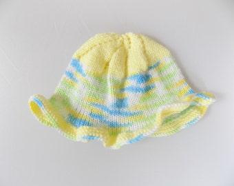 Newborn Baby Sun Hat, Knit Baby Hat, Yellow Sun Hat