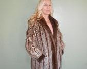 Vintage Brown Striped Fur Jacket - Size M
