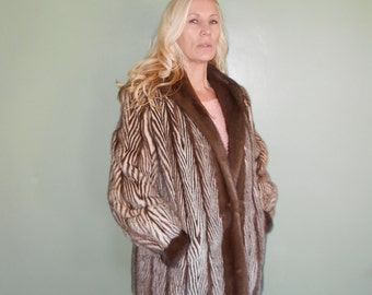 Vintage Brown Striped Fur Jacket - Size M