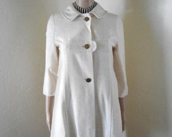 60s White Linen Short Mod Spring/Summer Coat - Size XS