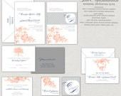 Elegant Wedding Peach, Gray & Navy Romantic Manhattan Wedding Invitation Set