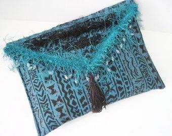 Boho Envelope Clutch Turquoise Black Stripe Boho Ethnic Print