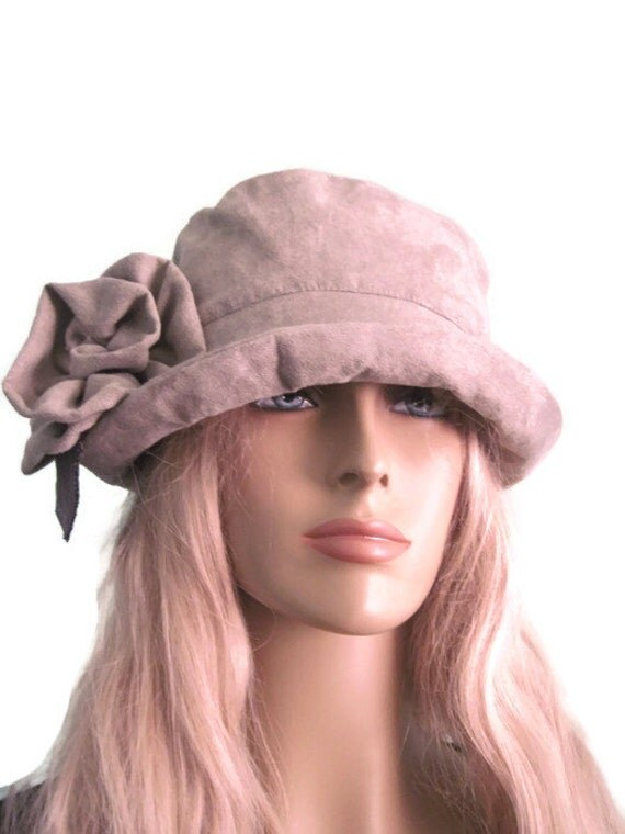 womens gray suede cloche hat