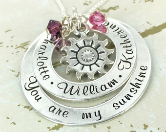 "Personalized ""you are my sunshine"" loop necklace with up to 5 crystals - Mother Necklace - Mother Jewelry - Birthstone Necklace"