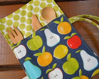 Reusable bamboo cutlery and roll up carrying pouch  - Picnic cutlery roll - Flatware pouch - Bamboo cutlery - Apples, pears, orange, lemon