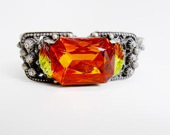 Vintage Victorian Greenery 1910's  Brutalist Modernist Ornate Knobby Crystal  Bracelet Bangle Cuff Safety Chain Edwardian