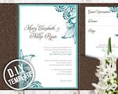 DIY Custom Wedding Invitation Suite - Modern Engraved Filigree Scrolls Design Customized Printable PDF
