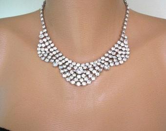 Crystal Choker, Vintage Wedding Jewelry, Party Necklace, Rhinestone Bib, Diamante Swag, Art Deco, 1950s Jewelry, Prom Jewelry, Gatsby