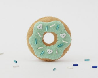 Mint Donut Felt Brooch with Heart Button Sprinkles