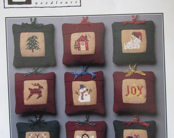 Winter Tiny Trimming/Counted Cross Stitch Patterns by Heart in Hand/1998/Christmas Ornaments/Needlecraft/Holiday Decor