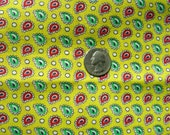 Vintage  Feed Sack Flour Sack Quilting Fabric - Yellow  Background with Tiny Paisley Jewels   - 11 x 22