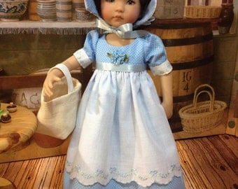 "Little Darling ""Baby Blue"" dress and bonnet fits 13 inch Dianne Effner dolls"