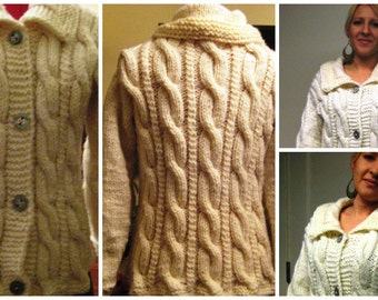 sales was 160.00 now 129.00 Ladies Aran Cardigan Cozy cuddling super soft wool/acrylic mix cable cardigan perfect gift for a special one
