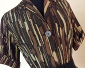 20% Off SALE Coupon Code FAVORITE20 Vintage 1950s Brown Abstract Print Dress