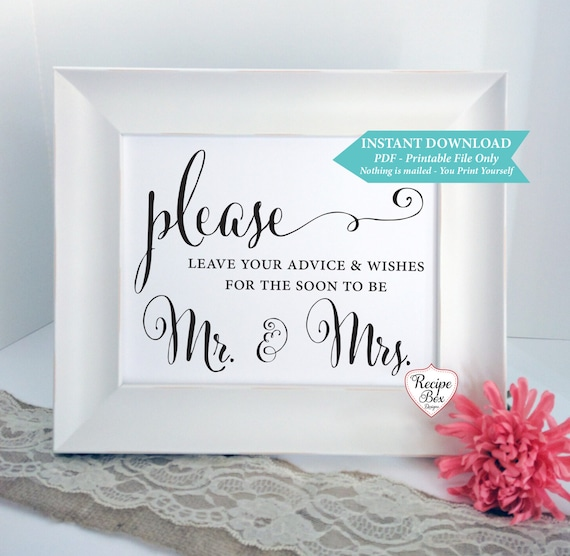 Advice And Wishes For The Soon To Be Mr & Mrs Printable
