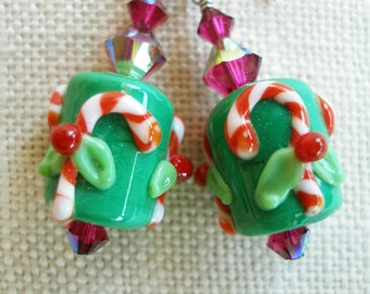 Candy Cane Earrings, Candycane, Christmas Earrings, Holly