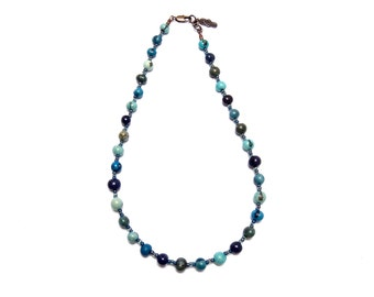 Beaded Necklace, Dyed Acai Necklace, Casual Beaded, Blue Berry Acai, Boho, Beach Beaded Necklace