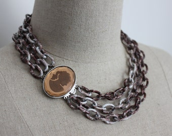 Luscious CARAMEL CAMEO Multistrand Chain Chunky Necklace in Brown and White with layered Chain