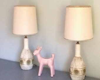 Pair of Mid Century Chalkware Chalk Ware Dresser Table Lamps
