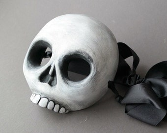 OOAK Handmade White Skeleton Wall Mask for Halloween, Masquerade, Ren Faire - One of a Kind