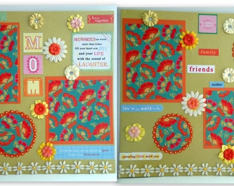 Mother's Day MOM Premade Scrapbook Pages (2) 12x12- Just add photos!