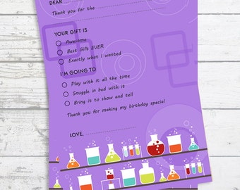 Science Lab - Fill In The Blank Birthday Party Thank You Card  - Professionally printed *or* DIY printable PDF