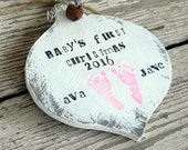 Baby's First Christmas Ornament - First Year - Baby Girl Ornament - Baby Boy Ornament - Personalized Gift Wood Christmas Ornament Keepsake