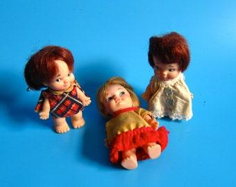 VINTAGE Lot of 3 1960's Eegee Co. and Uneeda Pee Wee Cuties girl dolls 60s retro kitsch